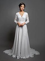 - Svadobné šaty s dlhým rukávom a kruhovou sukňou s vloženou vlečkou - 10412740_