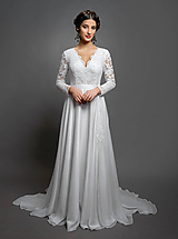 Šaty - Svadobné šaty s dlhým rukávom a kruhovou sukňou s vloženou vlečkou - 10412740_