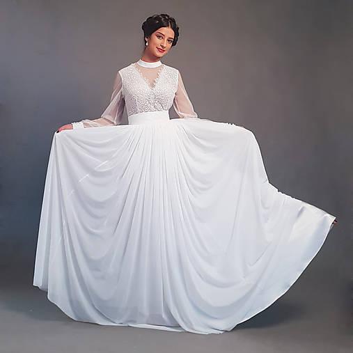 Svadobné šaty s dlhými rukávmi a veľkou tylovou sukňou vo vintage štýle df910e99557