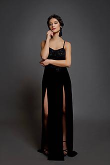 Šaty - Spoločenské šaty na ramienka so zamatovou sukňou rôzne farby - 10412859_