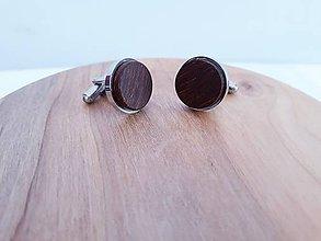 Šperky - Manžetové gombíky merbau de lux chirurgická oceľ - 10410384_
