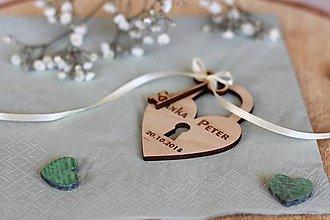 Darčeky pre svadobčanov - Drevená svadobná magnetka - 10411572_