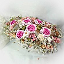 Dekorácie - Keramický květník s růžičkami - 10410436_