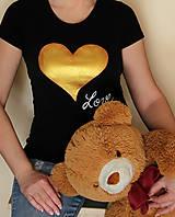 Tričká - Tričko zlaté srdce... - 10411106_