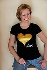Tričká - Tričko zlaté srdce... - 10411110_