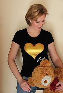 Tričká - Tričko zlaté srdce... - 10411107_