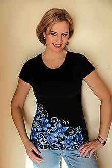 Tričká - Maľované s modrými kvetmi... - 10411310_