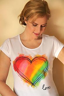 Tričká - Tričko dúhové srdce... - 10412669_