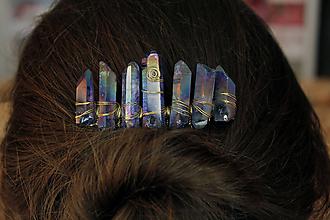 Ozdoby do vlasov - Modro zlatý hrebienok - 10412026_