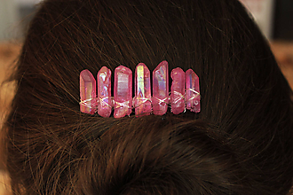 Ozdoby do vlasov - Ružový hrebienok - 10412134_