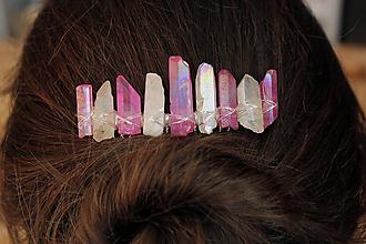 Ozdoby do vlasov - Hrebienok ružovo biely - 10412228_