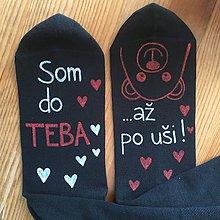 """Obuv - Maľované ponožky s nápisom: """"Som do teba / až po uši"""" (Čierne 1) - 10413380_"""