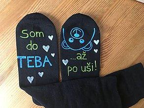 """Obuv - Maľované ponožky s nápisom: """"Som do teba / až po uši"""" (Čierne 2) - 10413383_"""