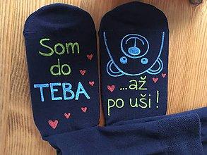 """Obuv - Maľované ponožky s nápisom: """"Som do teba / až po uši"""" (Čierne 3) - 10413390_"""