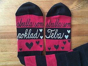 """Obuv - Maľované pásikavé ponožky s nápisom: """"stretla(/stretol) som poklad /stretla(/stretol) som teba"""" - 10413427_"""