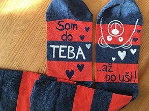 """Obuv - Maľované pásikavé ponožky s nápisom: """"Som do teba/ až po uši"""" - 10413494_"""
