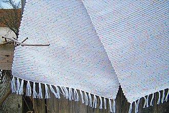 Úžitkový textil - Tkaný koberec biely, jemne melírovaný - 10410629_