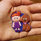 Kľúčenky - Prívesok na kľúče na mieru - dievča a šteniatko - 10412954_