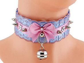 Náhrdelníky - Obojok čipkový obojok hranie mačka lolita kawaii gothic pastel, kitten play collar BDSM DDLG pet play collar 077 - 10417357_