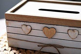 Krabičky - Krabička na vreckovky so srdiečkami - 10416039_