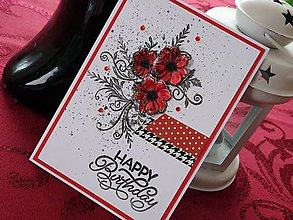 Papiernictvo - Ružové kvety - pohľadnica (Červená) - 10415960_