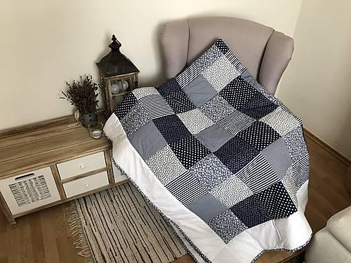 65e1b864758d7 prehoz na posteľ - patchwork deka 140x200 žlto - modrá (možné vyrobiť  vankúše patchwork vankúš 40x40cm 15 eur , - Modrá)