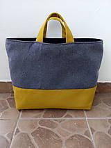 Nákupná taška šedo horčicová