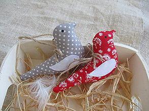 Dekorácie - Vtáčiky červeno-šedé - 10416155_
