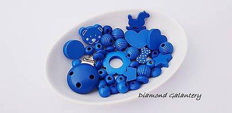 Komponenty - Kreatívny mix - klip + korálky - Kráľovská modrá - 10416655_