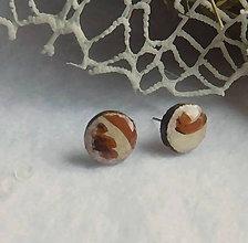 Náušnice - vintage napichovačky zemité - 10415006_