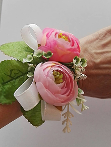 Náramky - Samonavíjací náramok s ružovými pivónkami - 10417389_