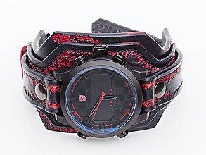 Náramky - Pánske hodinky, čierno červený kožený náramok - 10416996_