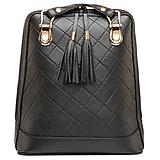 Luxusný kožený ruksak z pravej hovädzej kože so strapcami v čiernej farbe