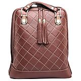 Luxusný kožený ruksak z pravej hovädzej kože so strapcami v hnedej farbe