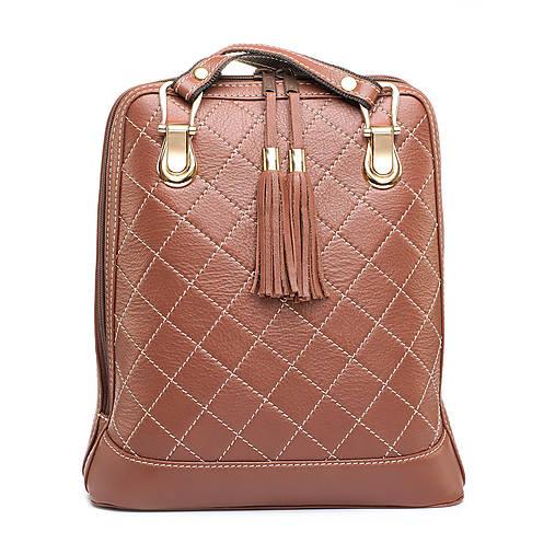 Luxusný kožený ruksak z pravej hovädzej kože so strapcami v horčicovej farbe