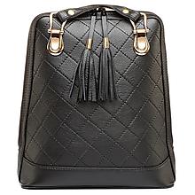 Batohy - Luxusný kožený ruksak z pravej hovädzej kože so strapcami v čiernej farbe - 10414652_