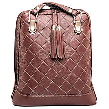 Batohy - Luxusný kožený ruksak z pravej hovädzej kože so strapcami v hnedej farbe - 10414694_
