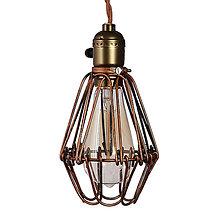 Svietidlá a sviečky - Závesné svietidlo s nastaviteľným tienidlom, staro medená farba - 10415349_