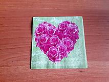 Papier - servítka ružičkové srdiečko - 10415082_