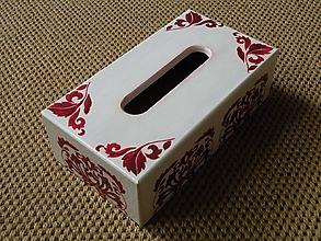 Krabičky - Krabička na kapesníky se vzorem červená - 10416825_