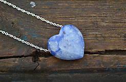 Náhrdelníky - Srdce kremeň na retiazke zo striebra. - 10415802_