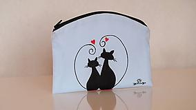 Taštičky - Plátená taštička ručne maľovaná- mačičky - 10414632_