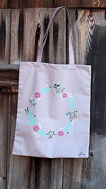 Nákupné tašky - Plátená taška ručne maľovaná- venček - 10414577_
