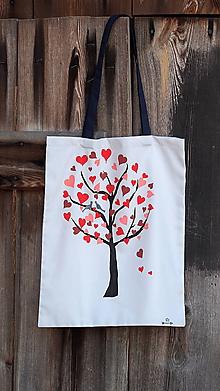 Nákupné tašky - Plátená taška ručne maľovaná- strom lásky - 10414702_