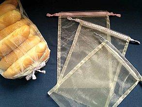 Úžitkový textil - Transparentné vrecúška so stužkou, sada 3 kusy - 10417011_