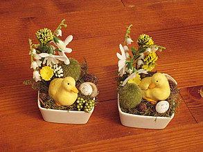 Dekorácie - Veľkonočné dekorácie s húskou - sada 2 ks aj jednotlivo - 10416016_