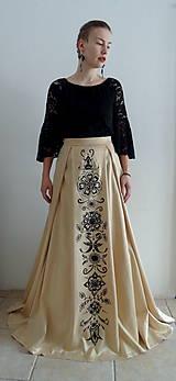 Sukne - Zlatá maľovaná plesová sukňa - 10415189_