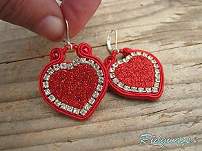 Náušnice - Valentínska kolekcia...soutache (červené) - 10419033_
