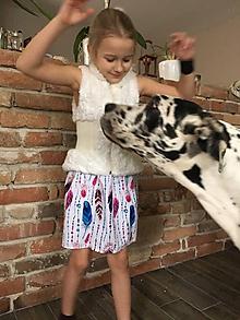 Detské oblečenie - Sukňa - Pierka s korálikmi - 10419533_