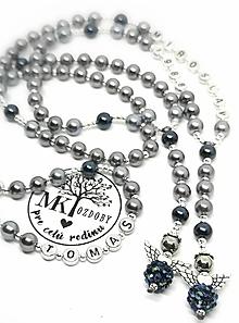 Náhrdelníky - Ruženec perličkový s textom (Sivo-modrý s anjelom) - 10418344_